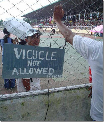 Vicycle not allowed