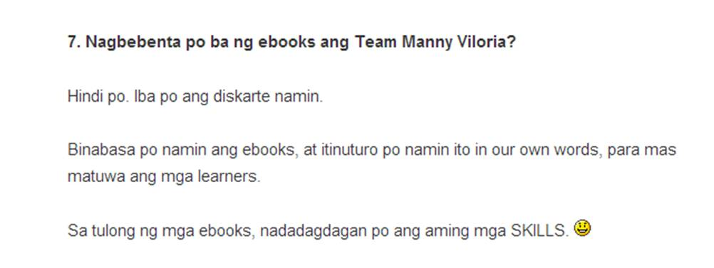 Manny Viloria No Selling of Ebooks